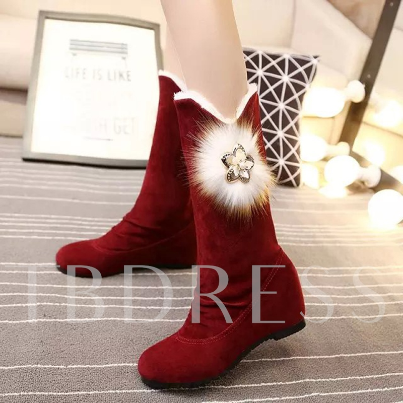 Pompon with Rhinestone Height Increasing Boots for Women