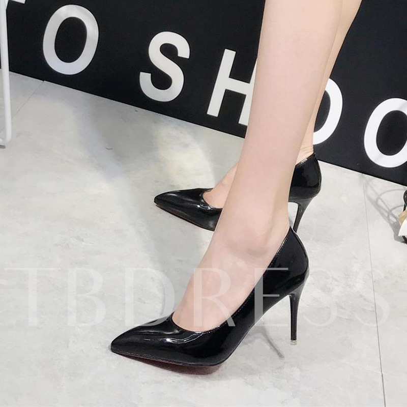 Patent Leather Slip On High Heels Solid Shoes for Women