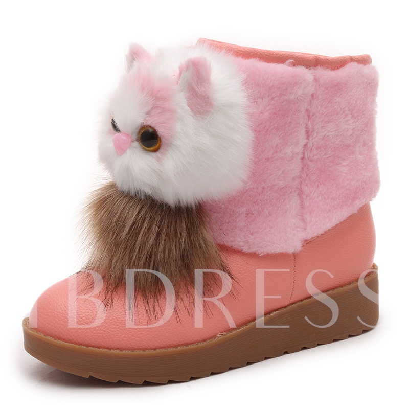 Flat With Platform Pompon Animal Decorated Cute Snow Boots for Women
