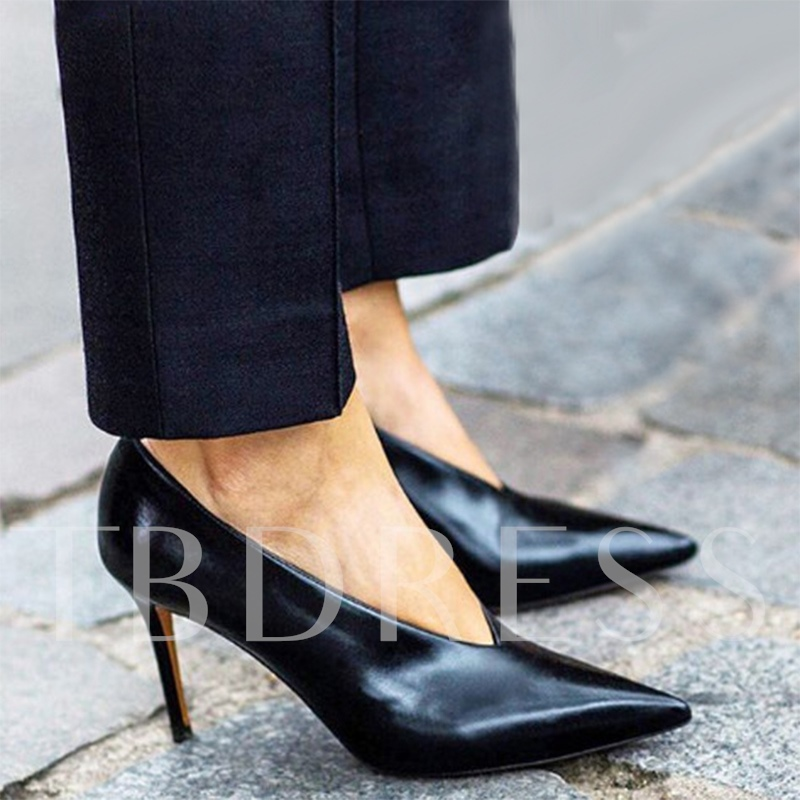 V Collar Shoes Black Basic Pumps for Women(Plus Size Available)