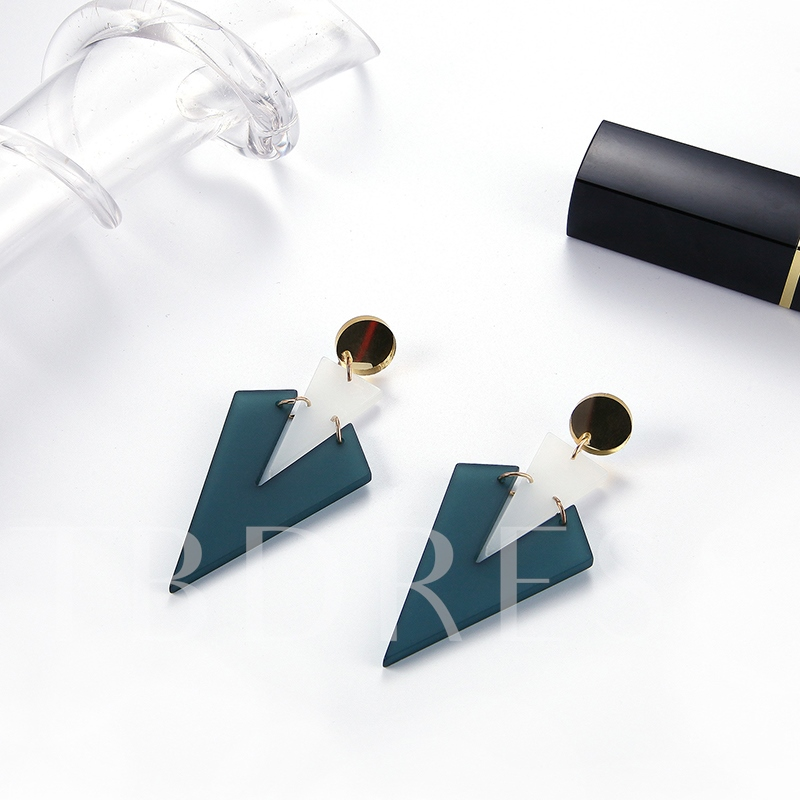 Round Alloy Rectangle Color Block Acrylic Earrings