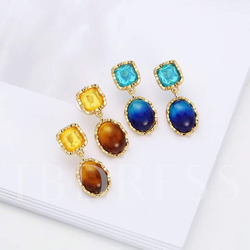 Gradient Color Reshin Square European Earrings