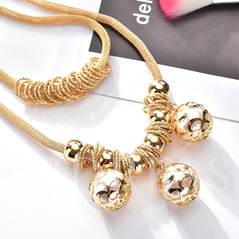Metallic Pearl Ball Circles Punk Double Necklace