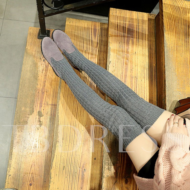 Cloth Knit Thigh High Shoes Chunky Heel Sock Boots