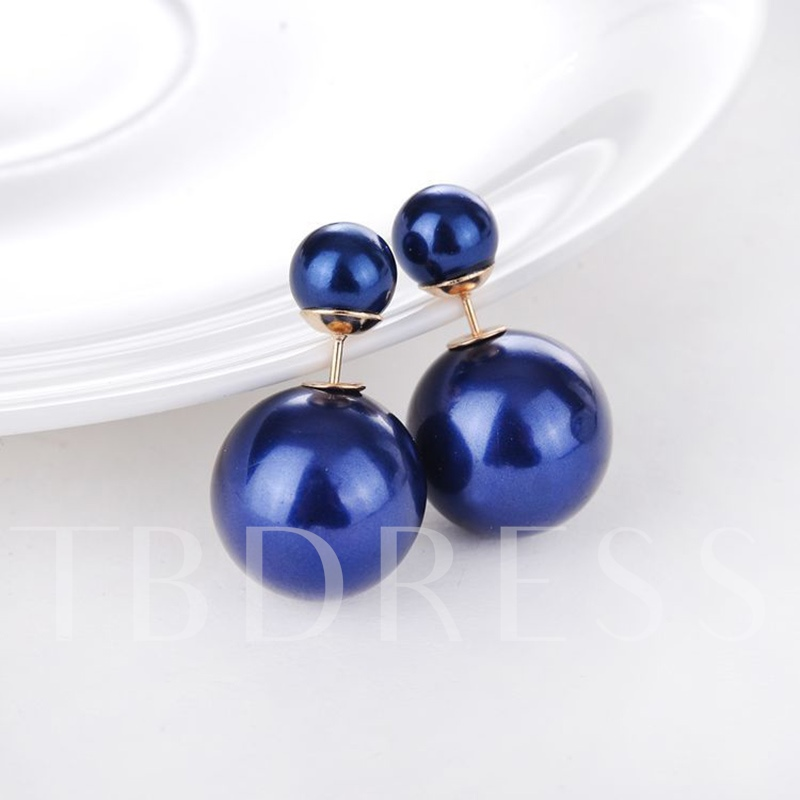 Alloy Imitation Pearl Ball Shaped Earrings
