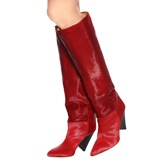 Red Leather Shoes Women's Knee High Boots (Plus Size Available)