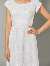 A-Line Cap Sleeves High Low Lace Evening Dress