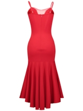 Red Ruffled Strappy Women's Bodycon Dress