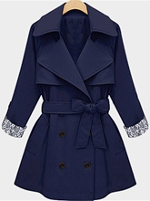 Double-Breasted Bowknot Plain Women's Trench Coat