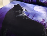 Howling Wolf Printed Cotton 3D 4-Piece Bedding Sets/Duvet Covers