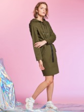Pocket Patchwork Pullover Hooded Women's Day Dress