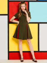 Army Green Turtle Neck Women's Day Dress