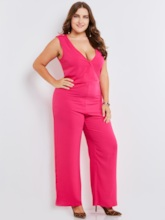 Plain V-Neck Plus Size Full Length Women's Jumpsuit