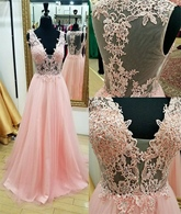 A-Line V-Neck Appliques Beading Sweep Train Prom Dress
