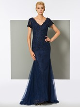 V-Neck Trumpet Lace Short Sleeves Evening Dress