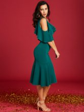 Dark Green Falbala Women's Bodycon Dress