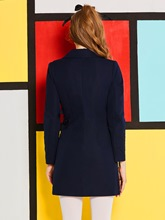Dark Blue Double-Breasted Women's Long Sleeve Dress