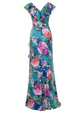 Green Printing Falbala Women's Maxi Dress