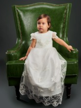 Cap Sleeve Lace Baptism Dress for Girls Christening