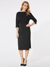 Black 3/4 Sleeve Women's Pencil Dress