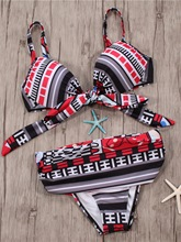 Fashion Print Bowknot Bandage Bikini Set