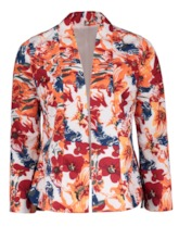 Plus Size Floral Print Long Sleeve Women's Jacket