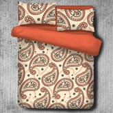 Orange Floral Paisley Pattern Exotic Style Polyester 4-Piece Bedding Sets/Duvet Cover
