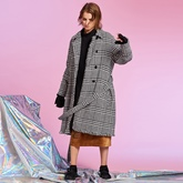 Plaid Double-Breasted Lace-Up Women's Overcoat