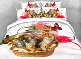 Kittens and Butterfly Printed 4-Piece White 3D Bedding Sets/Duvet Covers