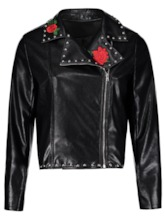 Plus Size Floral Embroidery Women's PU Jacket