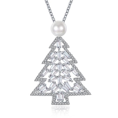 Christmas Bronze Imitation Pearl Zircon Tree Necklace