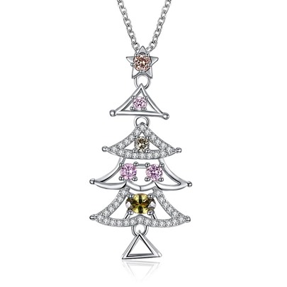 Christmas Colorful Zircon Inlaid Bronze Tree Necklace