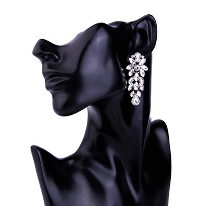 Hollow Out Alloy Rhinestone Synthetic Stones Earrings