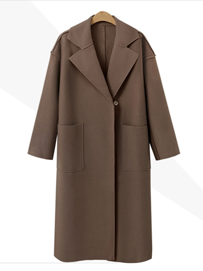 Plain Lapel One Button Women's Winter Thick Trench Coat with Belt
