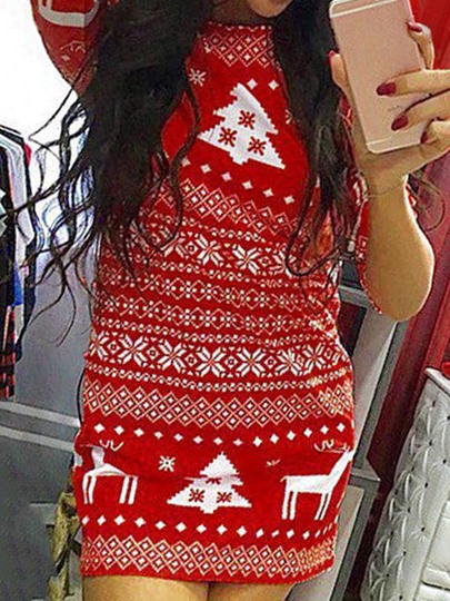 3/4 Sleeve Christmas Pattern Women's Bodycon Dress