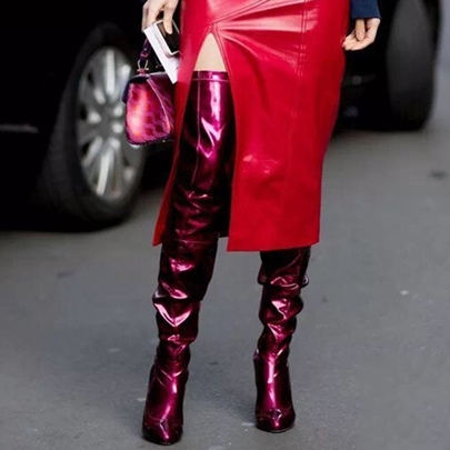 Rose Shoes High Heels Patent Leather Sexy Boots