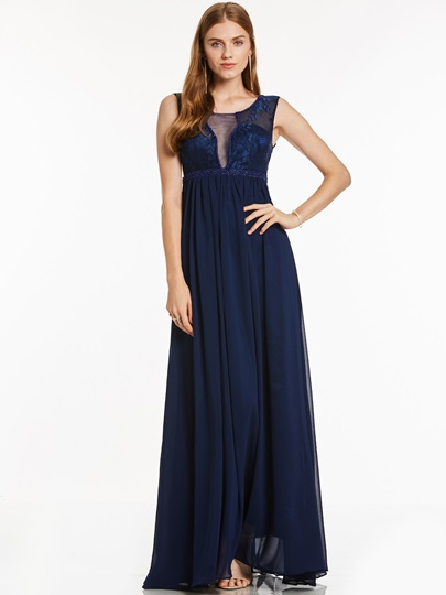 Scoop Neck A Line Lace Evening Dress