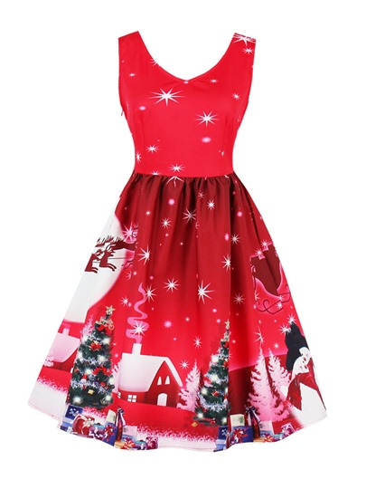 Side Zipper Christmas Pattern Women's Day Dress