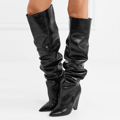 Strange Heel Shoes Black Knee High Boots (Plus Size Available)