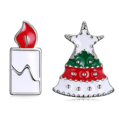 Christmas Tree Candle Shaped Oil Drip Earrings