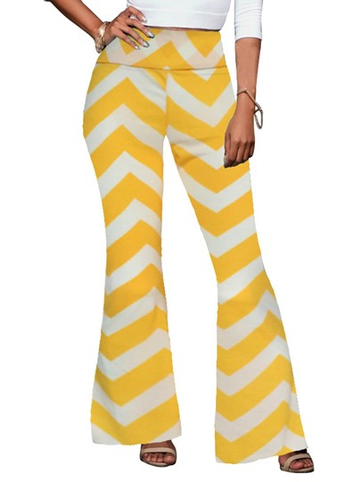 Plain High Waisted Bellbottoms Print Women's Casual Pants