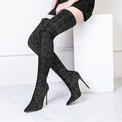 Slip On Black Stretch Boots Thigh High Boots for Women