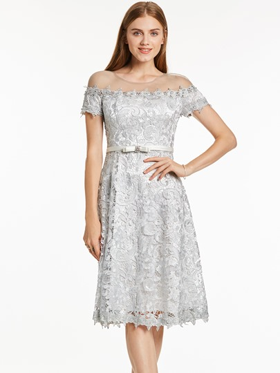 Scoop Neck Lace A Line Knee-Length Cocktail Dress
