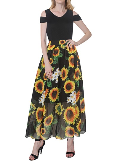 Cold Shoulder Sunflowers Pattern Women's Maxi Dress