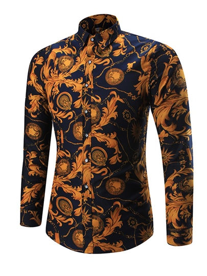 Lapel Single-Breasted Vogue Printed Slim Fit Men's Shirt