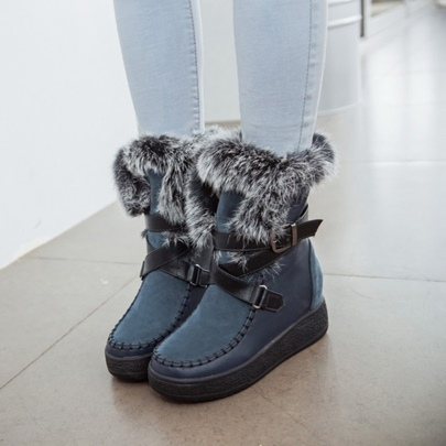 Slip On Height Increase Shoes Plush Snow Boots