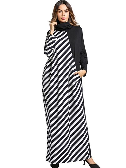 Black Striped Heaps Collar Women's Maxi Dress