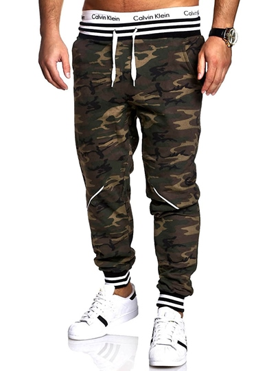 Lace-up Camouflage Straight Slim Fit Men's Casual Pants