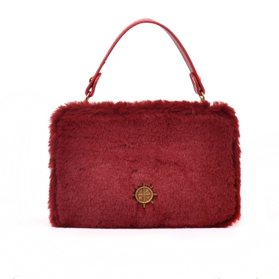 Concise Solid Color Plush Women Satchel