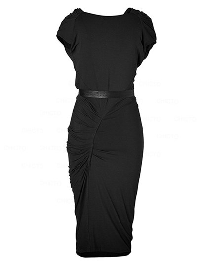 Plain Heap Collar Women's Sheath Dress